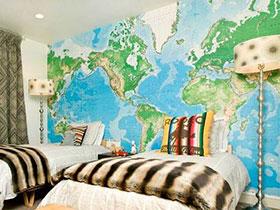 地图壁纸儿童房效果图 世界这么大