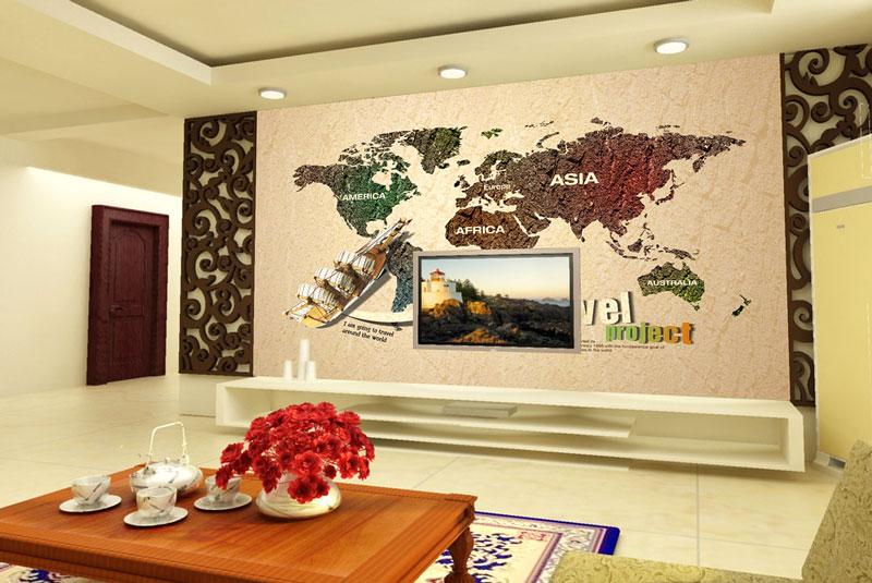 中式创意地图装饰画装饰电视背景墙图片