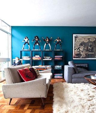 蓝色沙发背景墙