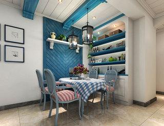 蓝色餐厅背景墙
