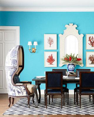 蓝色系英伦风格餐厅