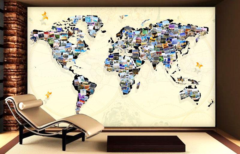 3d立体照片地图背景墙