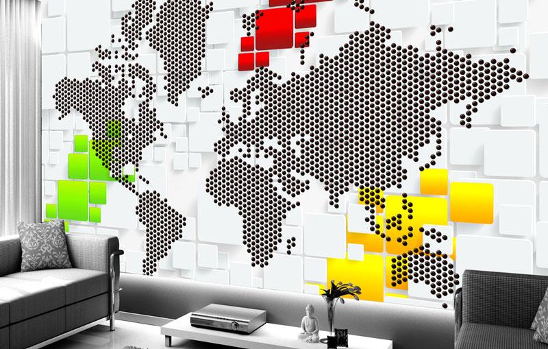 3d立体世界地图背景墙