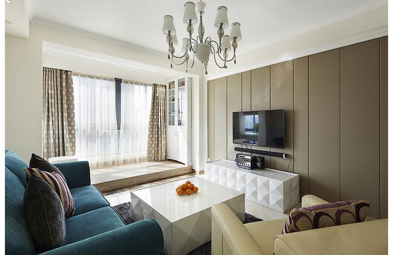 现代简欧混搭82平两居装修效果图,室内设计效果图 齐家装修网高清图片