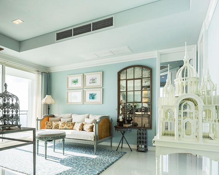 欧式田园蓝色客厅