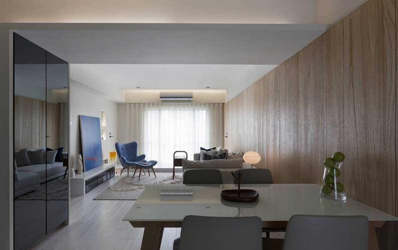 混搭风格二居室原木色70平米装修效果图