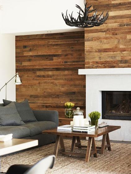 客厅简约木板背景墙设计