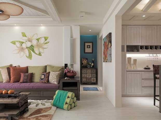 东南亚风格二居室110平米效果图