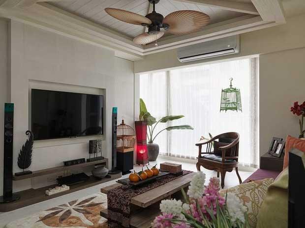 东南亚客厅背景墙设计效果图