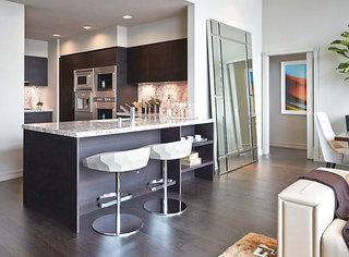 混搭风格古典中式暖色调开放式厨房吧台设计图