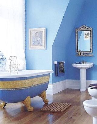浅蓝色调清新卫浴间