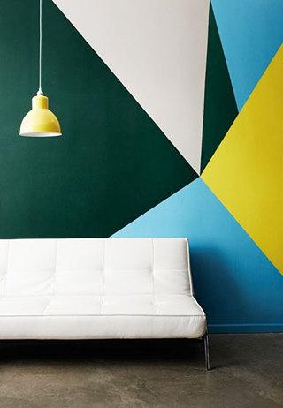 蓝色系客厅背景墙
