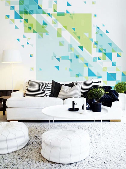 蓝绿色客厅背景墙