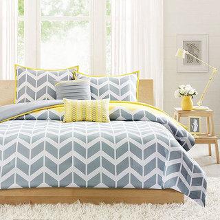 银色+黄色床上用品