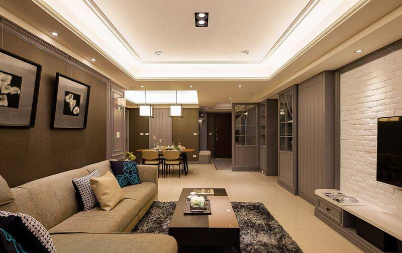 美式风格三居室100平米装修效果图图片