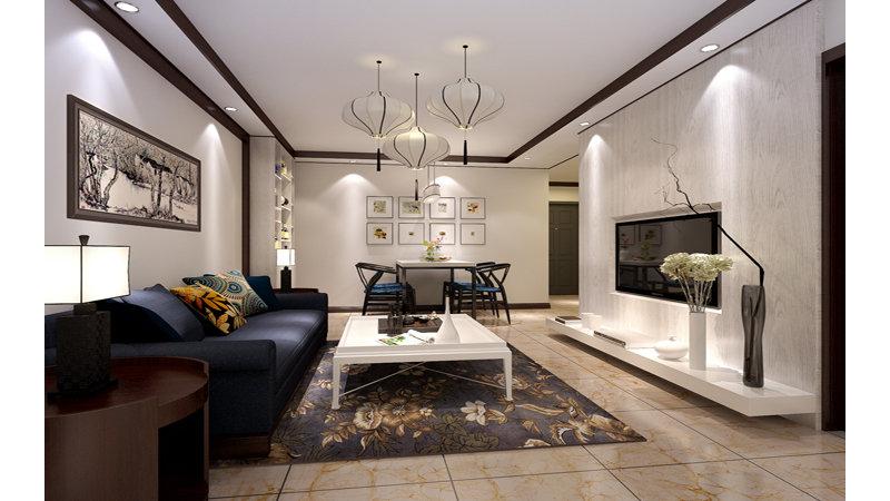 10-15万80平米中式二居室装修效果图,建工双合家园图图片