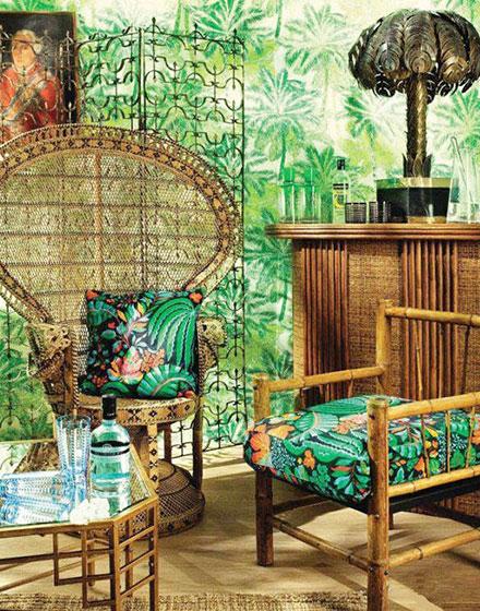 热带风情客厅植物壁纸