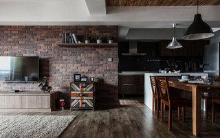 美式风格三居室80平米旧房改造家装图片