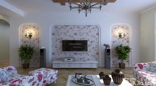 这是一套自然风景的客厅电视背景墙手绘效果图
