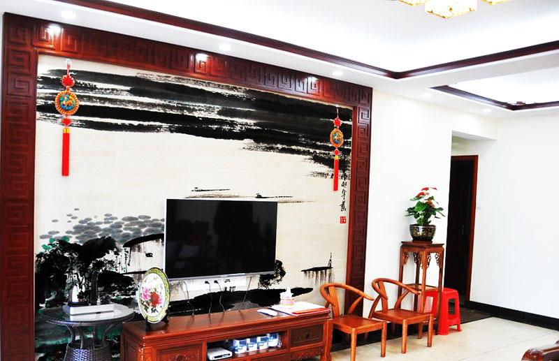 大气中式客厅电视背景墙设计