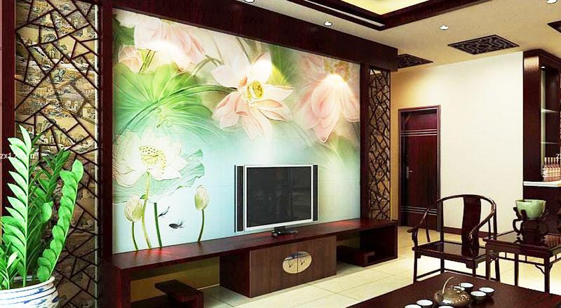 清新中式客厅电视背景墙
