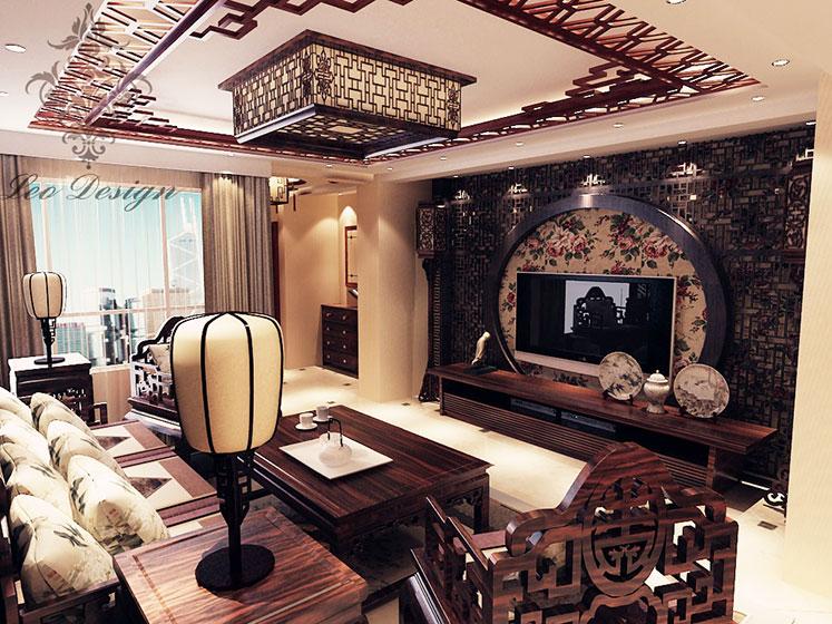 经典中式客厅电视背景墙