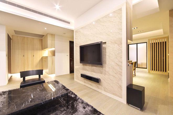 大理石装修客厅电视背景墙