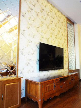 清新简欧电视背景墙效果图