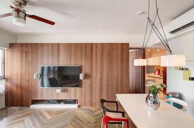 天然清新木质电视背景墙