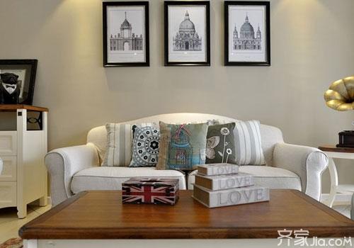 客厅沙发背景墙挂画禁忌1:挂画禁忌 沙发顶上的字画宜横不易竖,若沙发图片