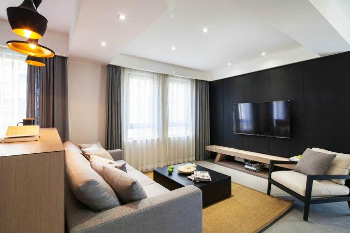 115平米简约风格装修电视背景墙设计