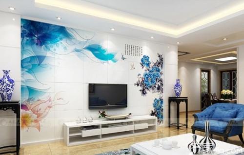 背景墙纸瓷砖墙装修的图案非常高档,有很多种电视,可根据自己的装修3d立体墙贴和效果哪个好图片
