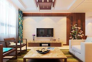 简约新中式电视背景墙效果图