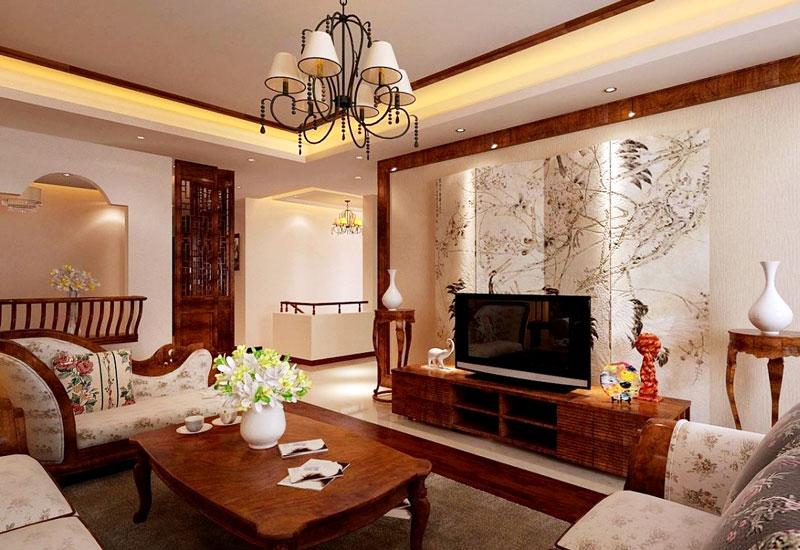 经典中式装修客厅电视背景墙