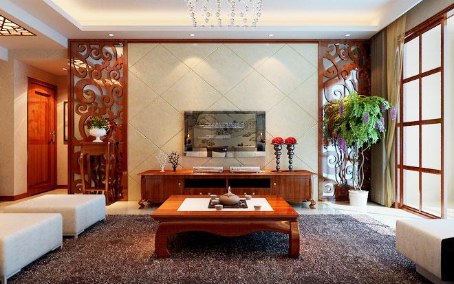 温润素雅中式装修客厅电视背景墙_齐家网装修效果图图片