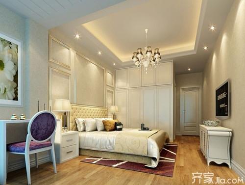 这款卧室吊顶造型泛着晶莹的色泽,金属感的光疗粒子闪烁不停.图片