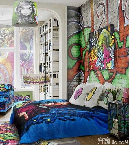 另类墙面装饰 将涂鸦墙搬进家 全文图片