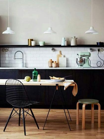 黑白厨房设计效果图