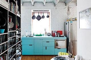 蓝色厨房图片
