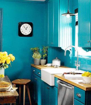 蓝色厨房效果图片