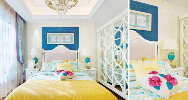 清新黄色卧室效果图