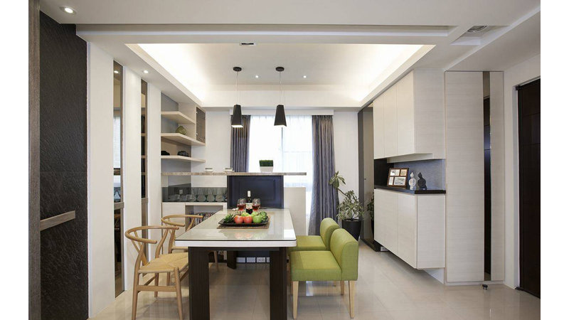 98平现代简约三居装修效果图,室内设计效果图 齐家装修网高清图片