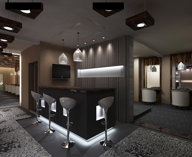 家居图册 美发店前台设计装饰效果图 美发,15-30万,90-120平米