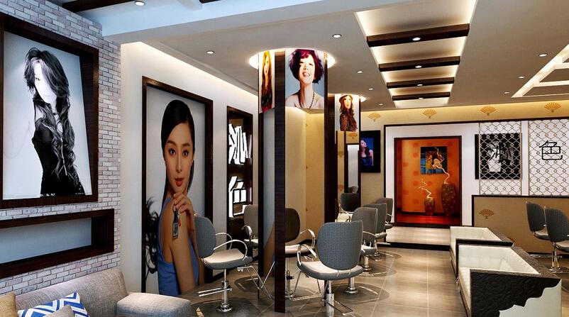 时尚美发店装潢大厅效果图