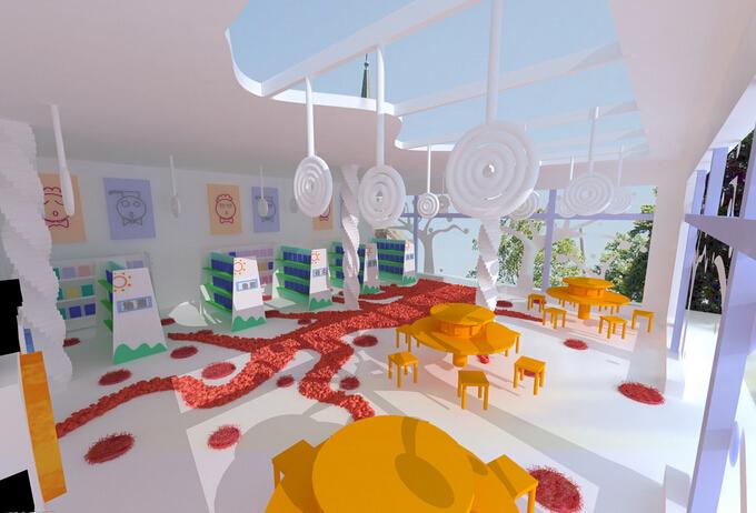 兒童圖書館設計室內裝修圖片