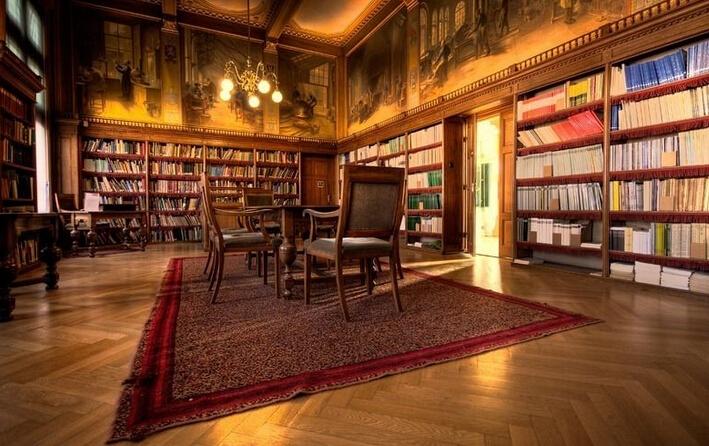 欧式古典图书馆装饰室内效果图