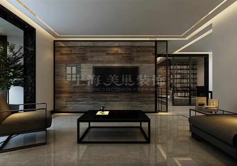 银基王朝港式现代简约风格装修效果图150平四室两厅——电视背景墙图片