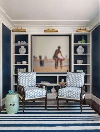 优雅灰蓝色客厅布置效果图
