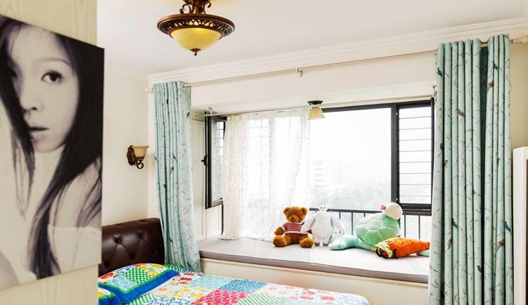 65平米美式装修风格卧室飘窗设计