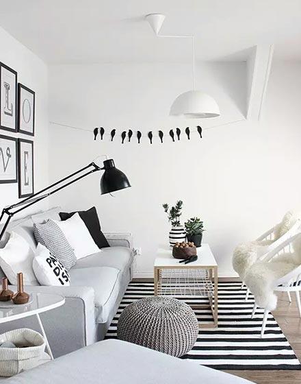 清爽北欧单身公寓客厅